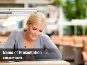 Studying female student laptop sitting