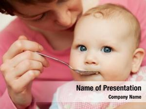 Baby mother feeding food baby