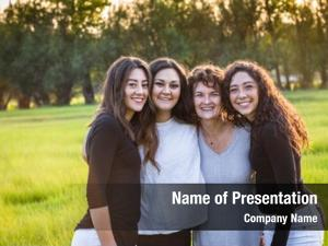 Beautiful outdoor portrait family, mother