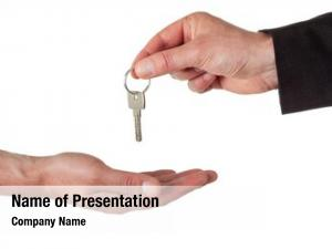 Man hand business giving key