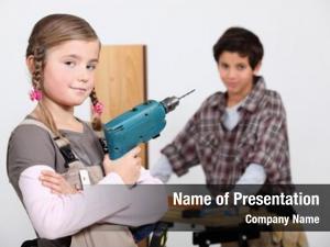Builders children pretending