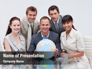 Holding business team terrestrial globe