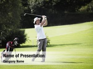 Golf young male player pitching