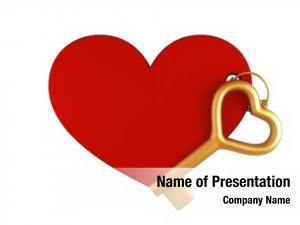 Gold heart keychain key