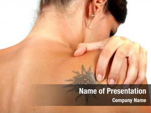 Young back pain woman holds