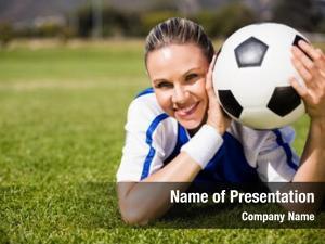 Happy portrait female football player