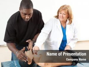 Cardiopulmonary doctor teaching resuscitation adult