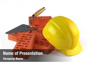 Construction trowel, bricks helmet