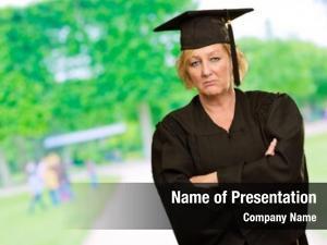 Woman, sad graduate outdoors