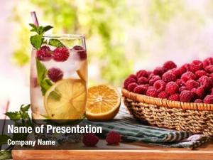 Glass wooden boards raspberry alcohol