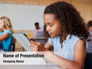 Using school girl tablet elementary