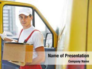 Man delivery courier front cargo