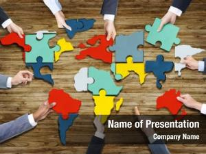 Forming business people world map