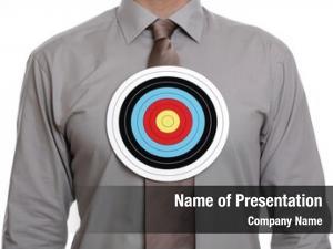 Symbol businessman target his chest