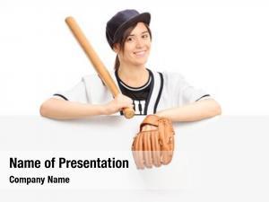 Sportswear young woman holding baseball