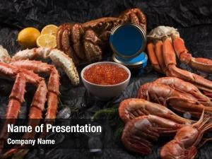 Red set seafood: black caviar,
