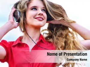 Backpack student girl headphone listen