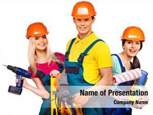 Builder group people construction tools