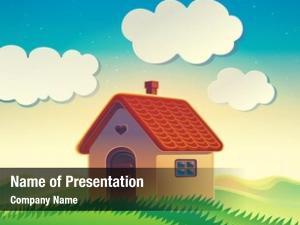 Landscape house hilly cartoon style
