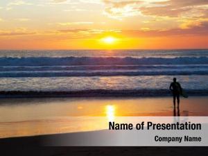 Sunset surfer beach
