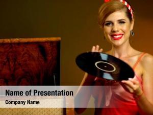 Music retro woman vinyl record