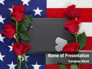 Roses, american flag military dog