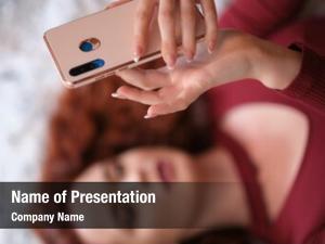 Selfie woman taking smoothie using