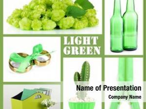 Green collage photos color
