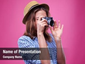 Photographer young caucasian girl
