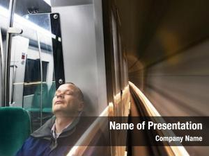 Fast man, sleeping moving subway