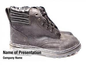Shoe black safety white background,