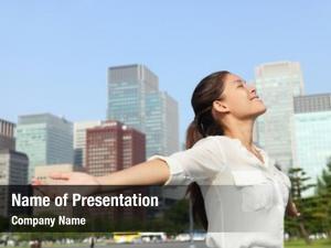 Businesswoman freedom success carefree urban