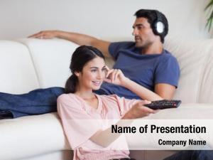 Sitting young couple cinema, watching