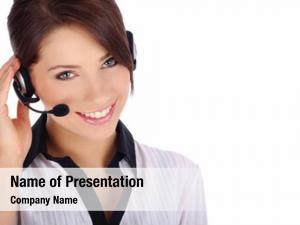 Headset customer representative smiling during