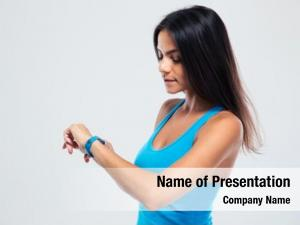Using fitness woman fitness tracker