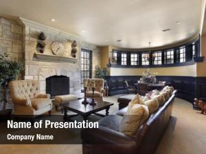Home basement luxury stone fireplace