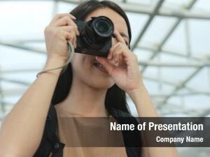 Taking female photographer photo digital