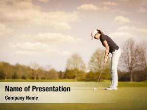 Female active senior golf player
