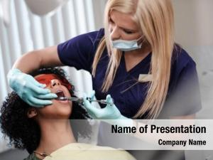 Blond young beautiful woman dentist