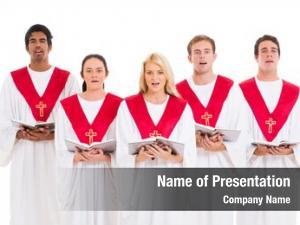 Singing church choir hymnal white