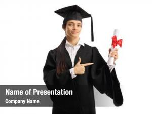Graduate young female holding degree