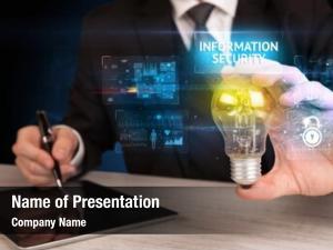 Lightbulb businessman holding information security