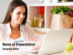 Online smiling woman shopping using