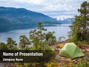 Scenic camping tent wild campsite