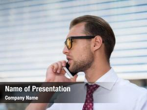 His businessman talking business smartphone