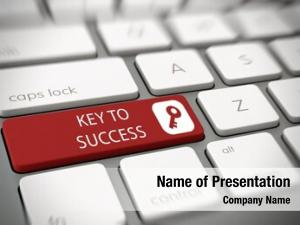 Concept key success white text