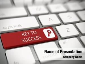 Concept key success white text