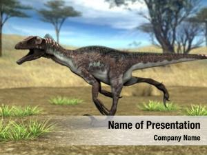 Utahraptor in savanna