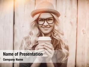Blonde cheerful fashionable holding coffee