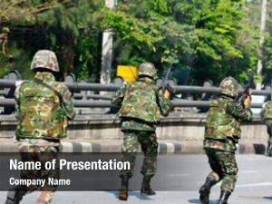 Staging army soldiers military coup